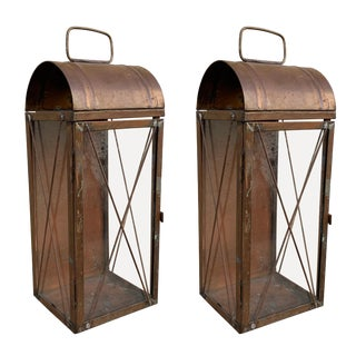 American Copper Lanterns - a Pair For Sale