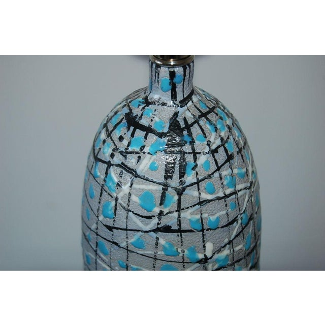 Marbro Italian Ceramic Table Lamps and Bowls Blue For Sale - Image 9 of 12