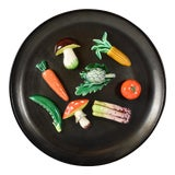 Image of A.Martin Vallauris French Provençal Palissy Trompe L'oeil Vegetable Wall Plate For Sale