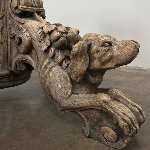 19th Century French Renaissance Stripped Oak Center Table With Hunting Dogs For Sale - Image 10 of 13