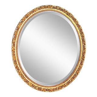 Gilt Beveled Oval Mirror 'Marguerite' For Sale