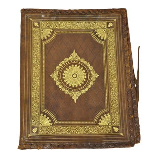 Vtg Italian Tooled Leather Brown Embossed Gold Gilt 17x13 Folio Document Case For Sale