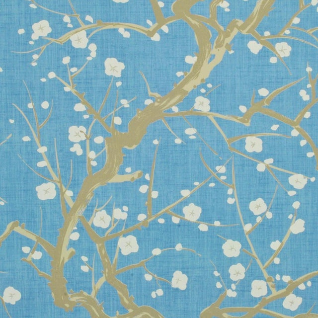 Clarence House Flowering Quince Wallpaper in Sky For Sale - Image 4 of 4
