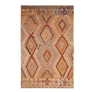Vintage Mid-Century Antalya Diamond Beige-Brown and Blue Wool Kilim Rug- 5′ × 7′11″ For Sale