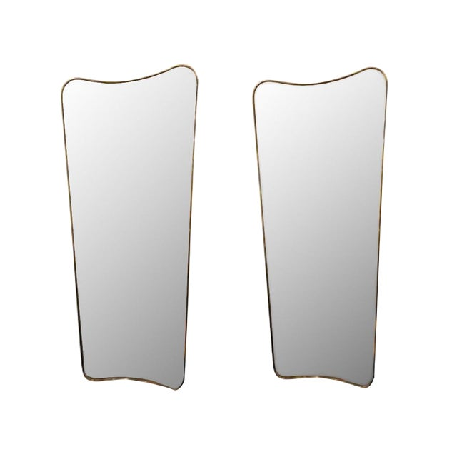 1950s Gio Ponti Large Scale Mid Century Brass Wall Mirrors - a Pair For Sale