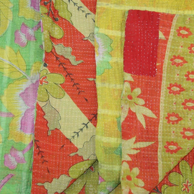 "Vintage Kantha Quilt Size: 68"" x 84 "" The seller says: ""We're known for all things Turkish, but when we saw these vintage..."