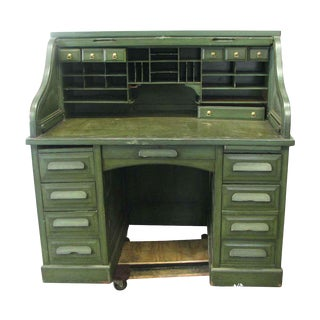 20th Century Traditional Oak Roll Top Green Rolltop Desk For Sale