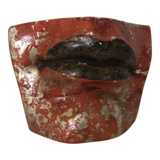 Abstract Plaster Lips Sculpture
