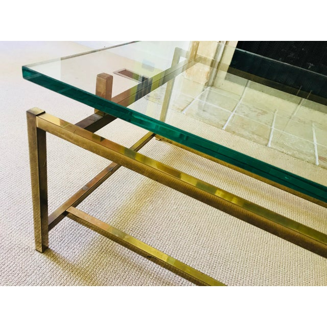 Abstract Expressionism Mid Century Coffee Table Brass and Glass Floating For Sale - Image 3 of 10
