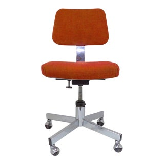Mid Century Modern Interroyal Orange Wool Office Chair