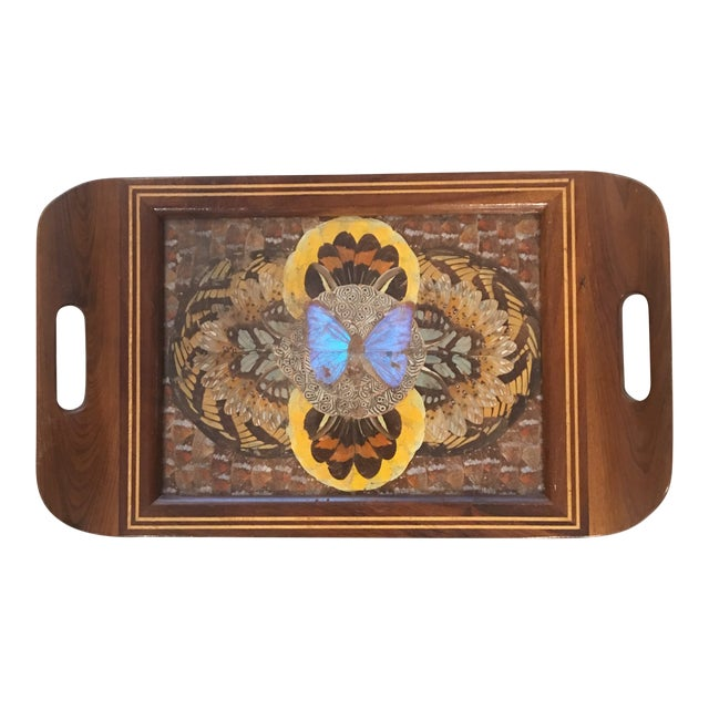1940's Art Deco Real Butterfly Wing Inlay Tray Platter For Sale