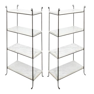 Contemporary Iron and Marble Shelves - a Pair For Sale