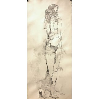 """Don Stacy """"Arms Across"""" C. 1950 Ink Wash Mid Century Female Nude Drawing For Sale"""