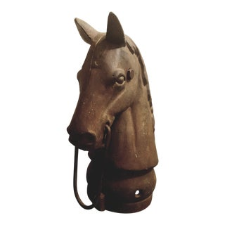 1890's Vintage Cast Iron Horses Head Hitching Post Finial For Sale