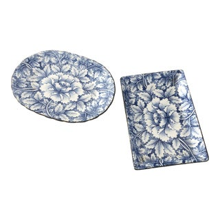 Asian Chinoiserie Blue and White Plates** - a Pair For Sale