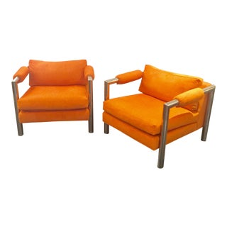 Italian Orange & Chrome Club Chairs - a Pair