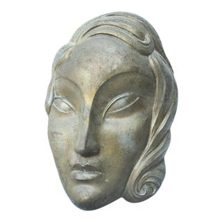 1920s Art Dec Spelter Female Wall Sculpture For Sale