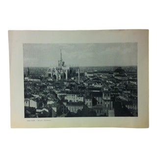 """Circa 1930 """"Panorama"""" Print of Milano Italy For Sale"""