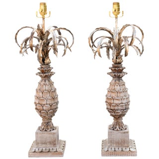 Pair of Carved Wood and Metal Pineapple Form Lamps For Sale