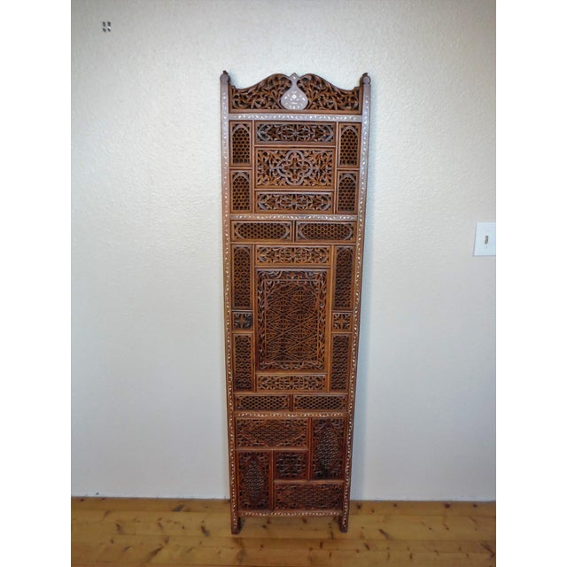 Carved & Inlayed Rosewood Screen For Sale - Image 11 of 11
