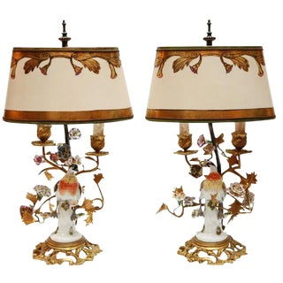 19th C. French Porcelain Bird and Flower Lamps For Sale