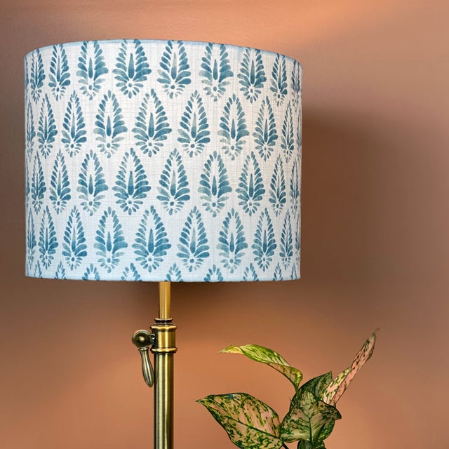 Not Yet Made - Made To Order Blue Patterned Lamp Shade For Sale - Image 5 of 5