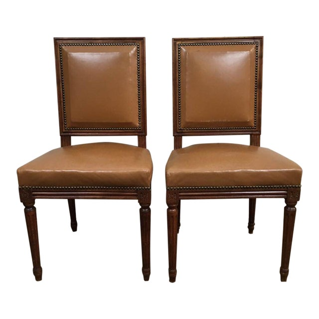 Antique Louis XVI Leather Upholstered French Country Chairs - A Pair - Image 1 of 11