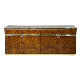 Glamorous 1970s Pierre Cardin Burled Olive Credenza Case Piece With Brass Detail For Sale