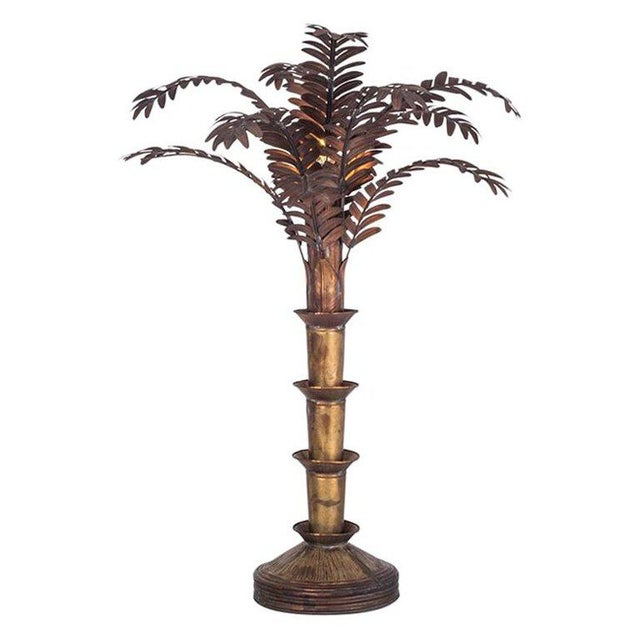Maison Jansen Style Palmtree Table Lamp in Copper For Sale - Image 10 of 10