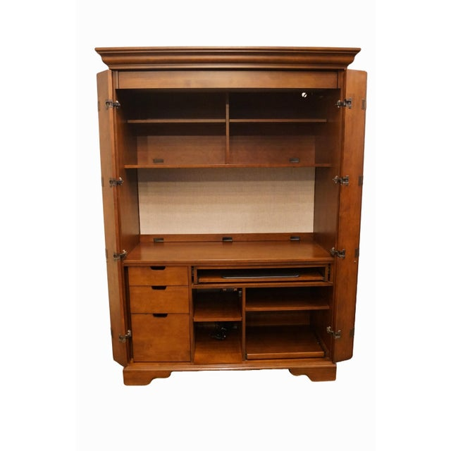 """20th Century Traditional Sligh Furniture Homeworks Home Office Collection 58"""" Computer/Media Armoire For Sale - Image 4 of 13"""