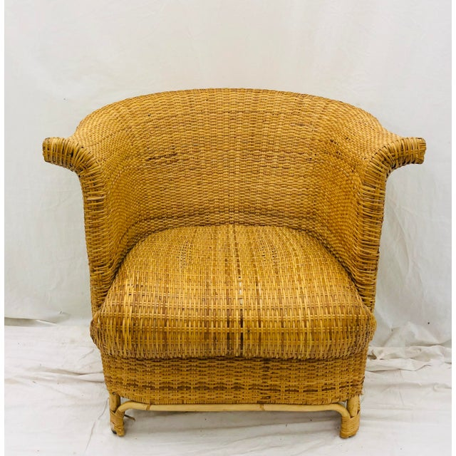 Stunning Vintage Mid Century Era Hollywood Regency Palm Beach / Boho Chic Style Woven Wicker Club Chair. Original natural...