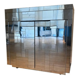 1970s Paul Evans Mirrored Art Deco Bar Cabinet For Sale