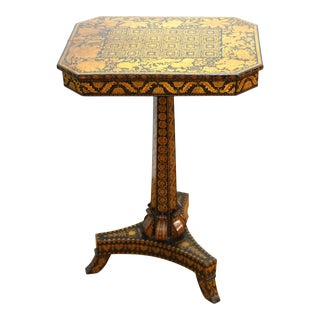 English Regency Penwork Table on Tripod Base For Sale