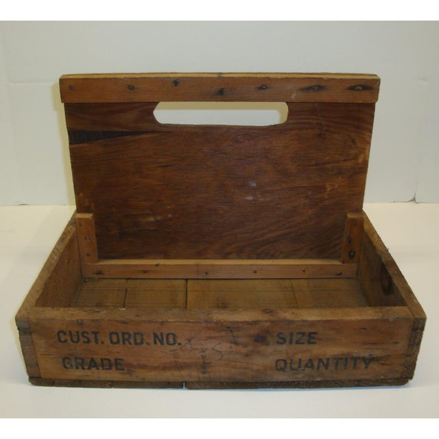 Industrial Vintage Rustic Tool Crate Wooden Caddy For Sale - Image 3 of 5