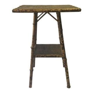 Antique Square Bamboo & Raffia Table