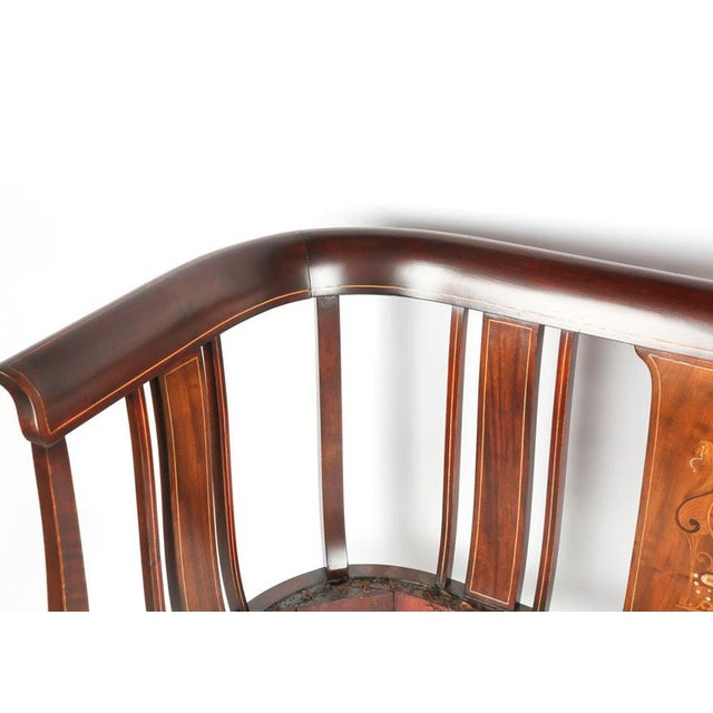French Mahogany Settee With Matching Oblong Pillow Cover For Sale - Image 3 of 13