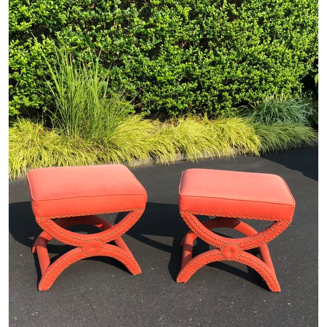 This unique pair of decorator modern stools are perfect for use as ottomans or occasional seating. Brass studded...
