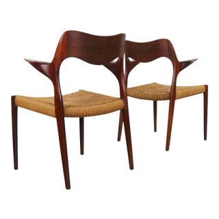 Niels Moller #55 Teak Dining Chairs With Danish Cord - a Set of 2 Captains Chairs, Denmark For Sale