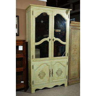 Green Painted Distressed Baker Armoire With Two Mirrored Glass Doors Preview