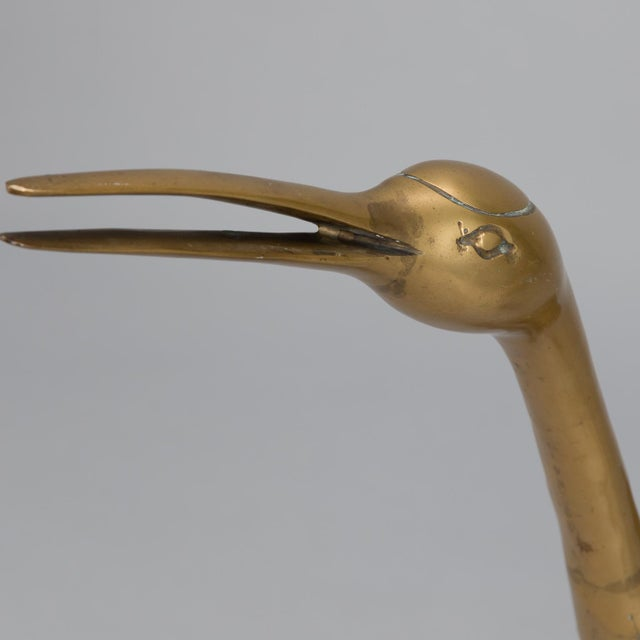 Gold Pair Mid Century Tall Brass Crane Statues For Sale - Image 8 of 10
