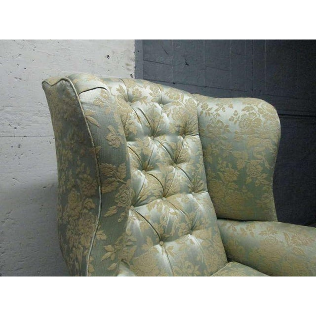 Textile Pair of Chippendale Style Tufted Wingback Chairs For Sale - Image 7 of 8