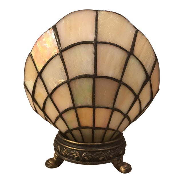Vintage Stained Glass Clam Shell Lamp For Sale