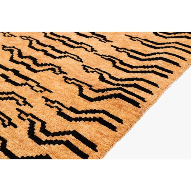 Asian Black and Golden Tan Wool Tibetan Tiger Area Rug For Sale - Image 3 of 6