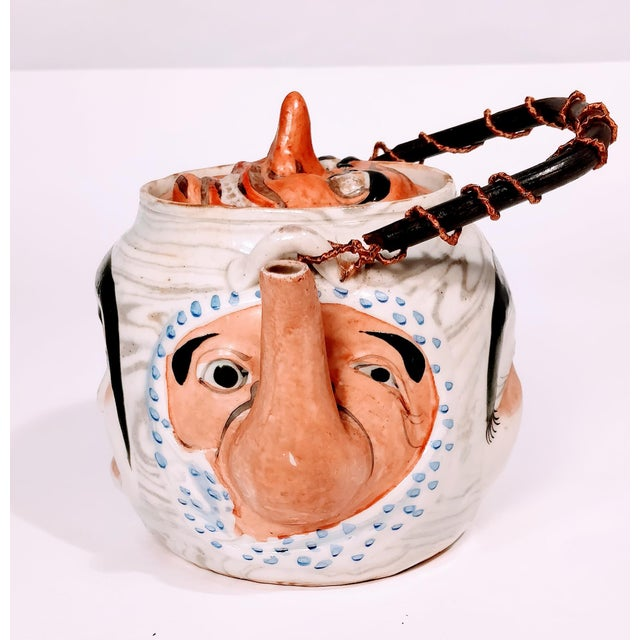 Asian 19th Century Antique Banko Five Face Mask Teapot For Sale - Image 3 of 12