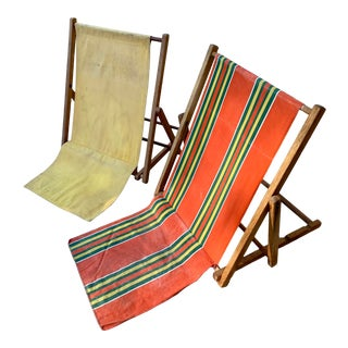 Mid-Century Modern Canvas Folding Beach Sand Chairs - Set 2 For Sale