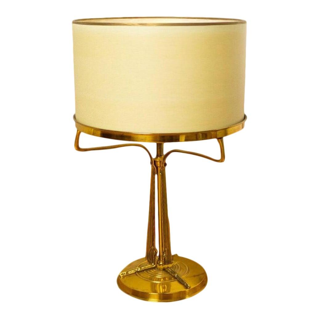 Antique French Art Nouveau / Deco Bronze Transitional Table Lamp ...