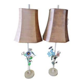 1940s Italian Regency Tole Floral Table Lamps With Shades - a Pair For Sale