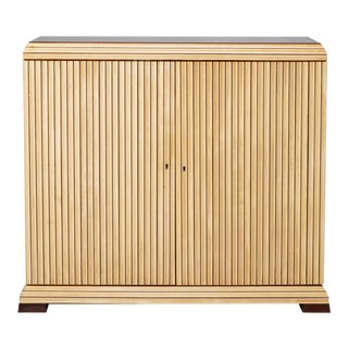 Reeded Maple Cabinet with Rosewood Trim and Black Glass For Sale