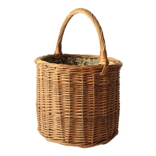 1970s Wicker Shopping Basket, Handmade For Sale