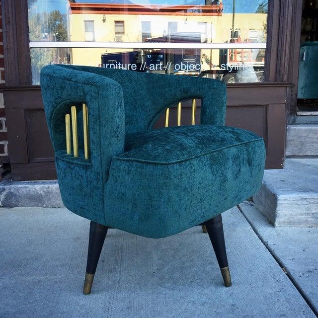 Mid-Century Green Velvet Brass Swivel Chair - Image 2 of 5